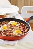 Minced meat dish with a fried egg