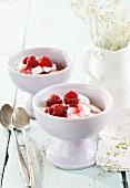 Quark mousse with raspberries