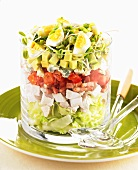 Cobb salad with chicken, avocado and egg