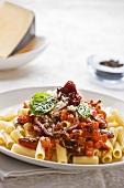 Rigatoni with tomatoes and chorizo