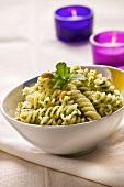 Fusilli with coriander pesto