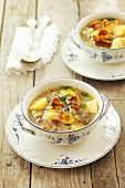 Potato soup with chanterelle mushrooms
