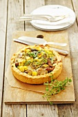 Leek and mushroom tart with herbs