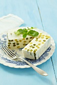Quark terrine with green and yellow beans