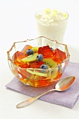Fruit jelly with kiwis and blueberries