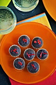 Chilli chocolate muffins and champagne, seen from above