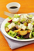 Salad with plums, beetroot and feta