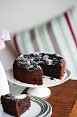 Chocolate and prune cake, sliced