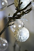 Christmas tree baubles on twigs