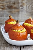 Pumpkin risotto in hollowed out pumpkins