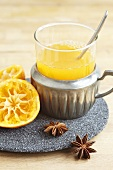 Mandarin punch, juiced mandarins and star anise