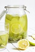 Homemade citrus lemonade with kiwis and apples