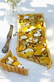 Courgette and pepper tart, sliced