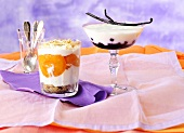Yogurt creams with apricots and cherries