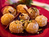 Clementine dessert with pistachios and cinnamon