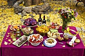 An autumnal buffet with a bunch of flowers