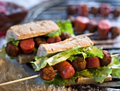Chorizo and meat ball kebab sandwich