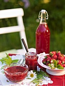 Fresh strawberry jam and fresh strawberry juice