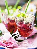 Strawberries in white wine with basil cream