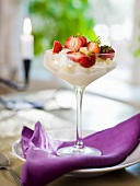 Champagne granité with strawberries