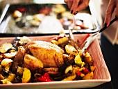 Hähnchen mit Gemüse aus dem Backofen