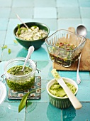 Cream cheese, dressing, pesto and walnut butter refined with chives