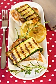 Snapper wrapped in courgettes with lemons