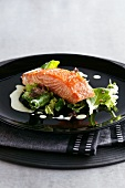 A smoked salmon fillet on a bed of lettuce