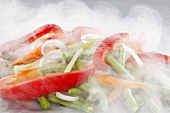 Mixed vegetables being steamed
