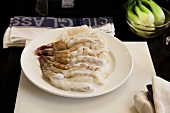 A plate of freshly shelled prawns