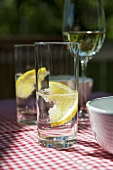 A glass of mineral water with a slice of lemon