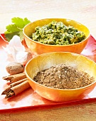Garam masala (spice mixture) and chermoula (spice paste)