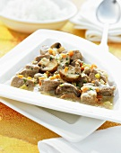 Veal ragout with button mushrooms