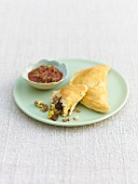 Empanadas with mince filling and tomato dip