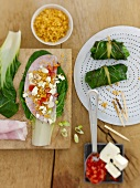 Unsteamed stuffed chard leaves with lentil & feta stuffing