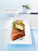 Marinated salmon trout with dill, lemon & horseradish cream