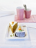 Two pieces of carrot cake (Switzerland)