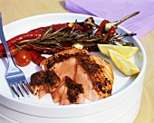 Cajun grilled salmon with pointed peppers and rosemary