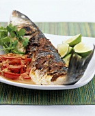 Grilled sea bass with tamarind sauce