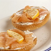 Bagel with cream cheese and smoked salmon