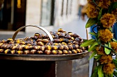 Hot chestnuts on an oven out of doors
