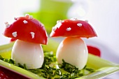 Fly agaric mushrooms made from boiled eggs and tomatoes