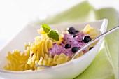 Pasta with blueberry yoghurt sauce for children