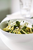 Fettuccine with broccoli and Parmesan shavings