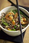 Prawns with soba noodles, mangetout and sesame seeds