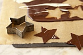 Cut-out chocolate stars for decoration