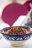 A bowl of harira (Ramadan soup, Middle East)