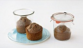 Three punch cakes baked in jars