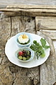 Olive & goat's cheese cream with tomato & gooseberry confiture