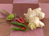 Still life: wasabi paste, chillies and ginger root